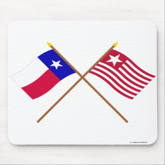 Crossed Texas and Long's Expedition Flags Mousepad
