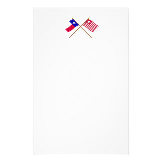 Crossed Texas and Long's Expedition Flags Stationery