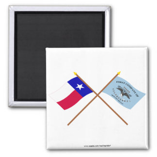 Crossed Texas and New Orleans Greys Flags 2 Inch Square Magnet