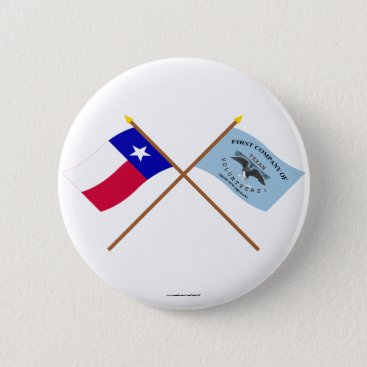 USA Themed Crossed Texas and New Orleans Greys Flags Pinback Button