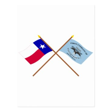USA Themed Crossed Texas and New Orleans Greys Flags Postcard