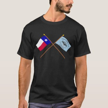 USA Themed Crossed Texas and New Orleans Greys Flags T-Shirt