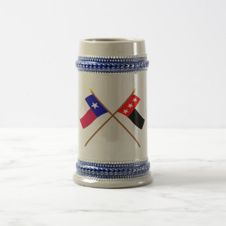 Crossed Texas and Republic of the Rio Grande Flags 18 Oz Beer Stein
