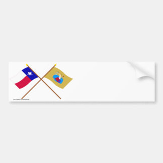 Crossed Texas and San Jacinto Flags Bumper Sticker