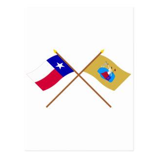 Crossed Texas and San Jacinto Flags Postcard