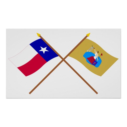 Crossed Texas and San Jacinto Flags Poster