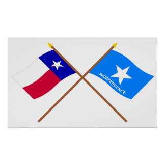 Crossed Texas and Scott s Independence Flags Print