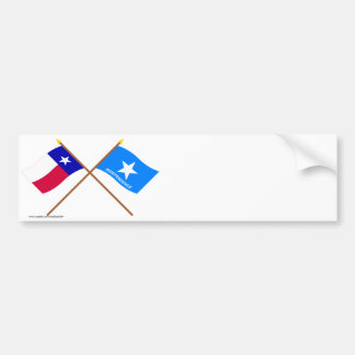 Crossed Texas and Scott's Independence Flags Bumper Stickers