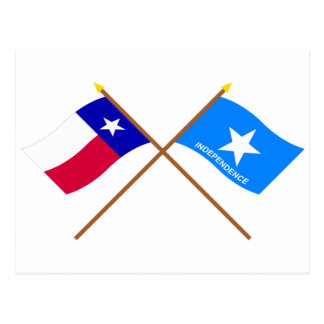 Crossed Texas and Scott's Independence Flags Postcard