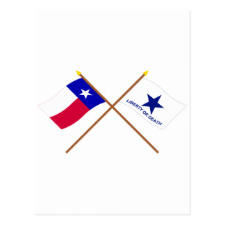 Crossed Texas and Troutman Flags Post Card