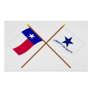 Crossed Texas and Troutman Flags Print