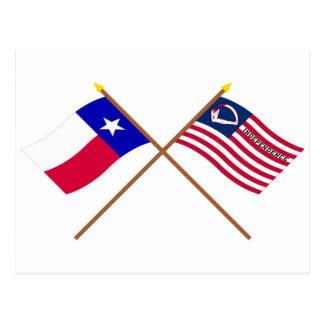 Crossed Texas and Velasco Flags Postcard