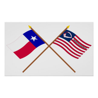 Crossed Texas and Velasco Flags Poster