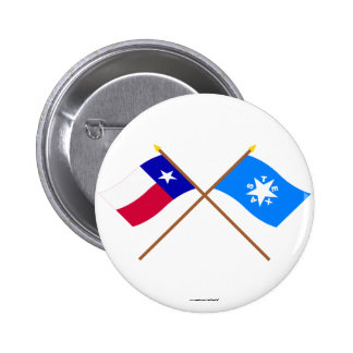 Crossed Texas and Zavala Flags Button