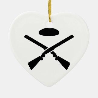 Crossed trap shooting shotguns ceramic ornament