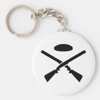 Crossed trap shooting shotguns keychain