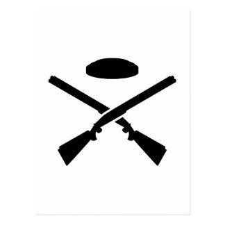 Crossed trap shooting shotguns postcard