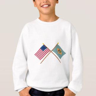 Crossed US 13-star and Delaware State Flags Sweatshirt