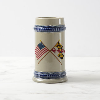 Crossed US 13-star and Maryland State Flags 18 Oz Beer Stein