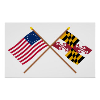 Crossed US 13-star and Maryland State Flags Poster