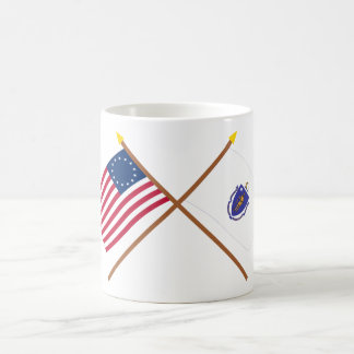 Crossed US 13-star and Massachusetts State Flags Coffee Mug