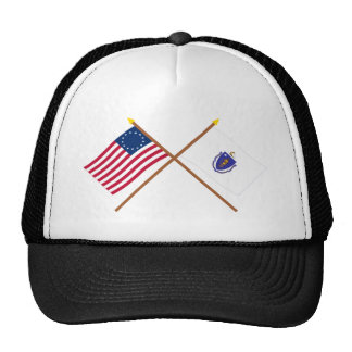 Crossed US 13-star and Massachusetts State Flags Mesh Hat