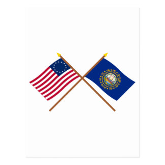 Crossed US 13-star and New Hampshire State Flags Postcard