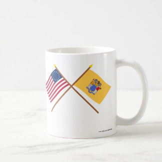 Crossed US 13-star and New Jersey State Flags Mugs
