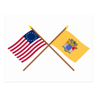 Crossed US 13-star and New Jersey State Flags Postcards