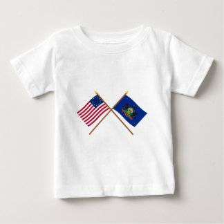 Crossed US 13-star and Pennsylvania State Flags Baby T-Shirt
