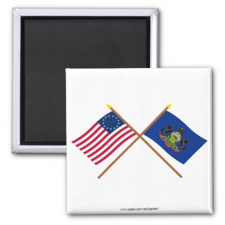 Crossed US 13-star and Pennsylvania State Flags Fridge Magnet
