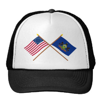 Crossed US 13-star and Pennsylvania State Flags Trucker Hat