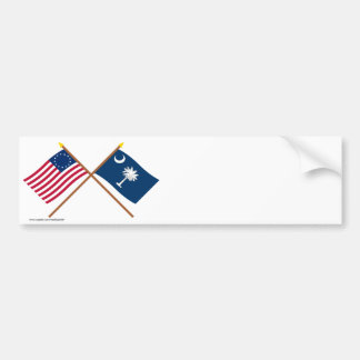 Crossed US 13-star and South Carolina State Flags Bumper Sticker