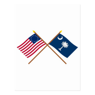 Crossed US 13-star and South Carolina State Flags Postcard