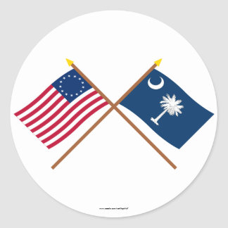 Crossed US 13-star and South Carolina State Flags Round Sticker