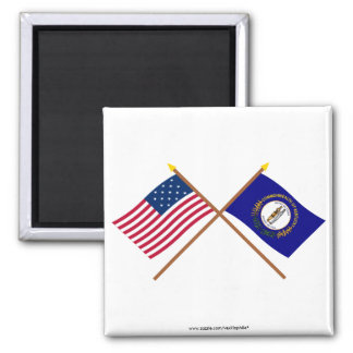 Crossed US 15-star and Kentucky State Flags 2 Inch Square Magnet