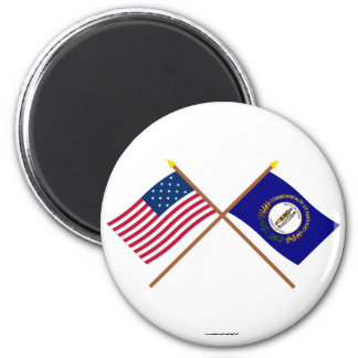 Crossed US 15-star and Kentucky State Flags 2 Inch Round Magnet