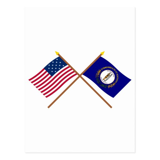 Crossed US 15-star and Kentucky State Flags Postcard