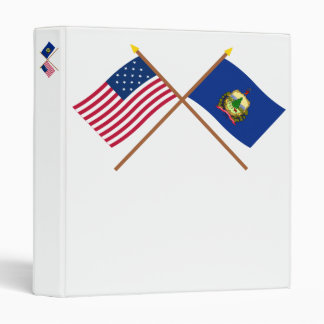 Crossed US 15-star and Vermont State Flags Vinyl Binders