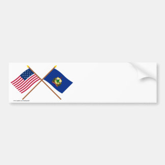 Crossed US 15-star and Vermont State Flags Bumper Sticker