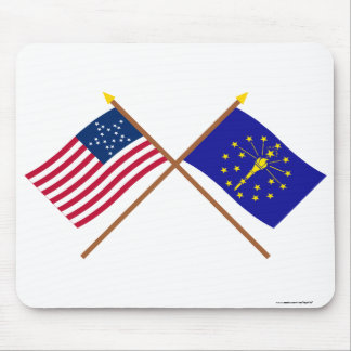 Crossed US 20-star and Indiana State Flags Mouse Pad