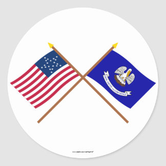 Crossed US 20-star and Louisiana State Flags Classic Round Sticker
