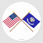 Crossed US 20-star and Louisiana State Flags Sticker