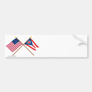 Crossed US 20-star and Ohio State Flags Bumper Sticker