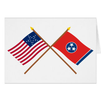 Crossed US 20-star and Tennessee State Flags Card