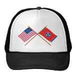 Crossed US 20-star and Tennessee State Flags Trucker Hats