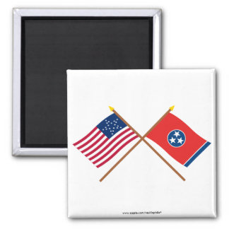 Crossed US 20-star and Tennessee State Flags Refrigerator Magnets