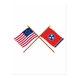 Crossed US 20-star and Tennessee State Flags Postcard