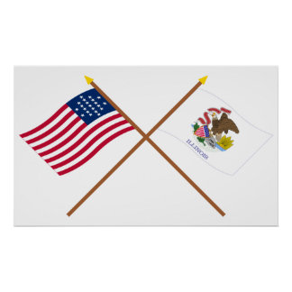Crossed US 21-star and Illinois State Flags Poster