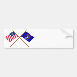 Crossed US 26-star and Michigan State Flags Car Bumper Sticker